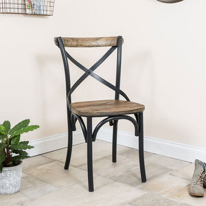 Bistro Boutique Tubular Iron And Wood Dining Chair - chairs
