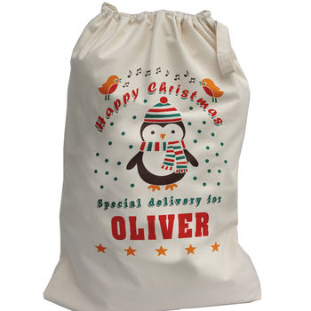 Christmas Sack Personalised With Penguin