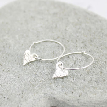 Silver Tilted Heart Charm Hoop Earrings