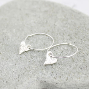 Sterling Silver Textured Tilted Heart Charm Hoops