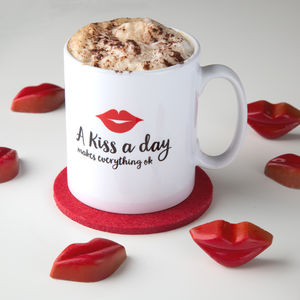 A Kiss A Day Makes Everything Ok Mug - mugs