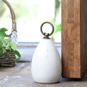 Heirloom White Natural Marble Doorstop