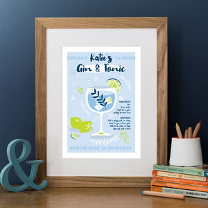 Personalised 'Gin And Tonic' Print