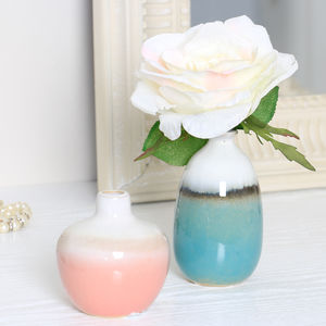 Ombre Dip Glazed Ceramic Vase Collection - tableware