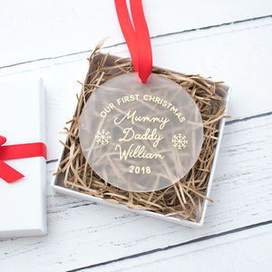 Personalised Family Christmas Keepsake Decoration - baby's first christmas