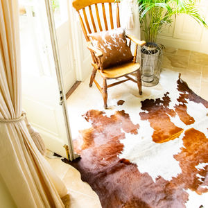 Brown And White Natural Cowhide Rug