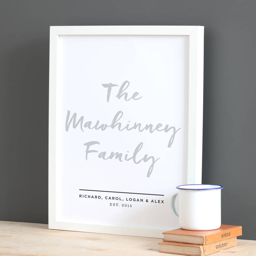 Personalised Hand Lettered Family Print