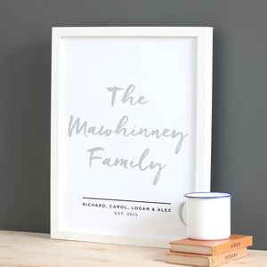 Personalised Hand Lettered Family Print - posters & prints