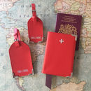 Red Nappa Leather Passport Cover Tag Gift Set