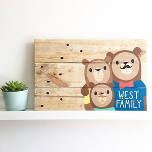 Personalised Wooden Bear Family Portrait - winter wildlife art