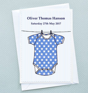 Personalised New Baby Boy Card 'Babygro'
