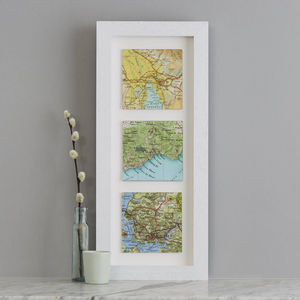 Three Map Location Squares Wedding Anniversary Print - maps & locations