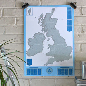 Scratch Map® UK And Ireland - mixed media & collage