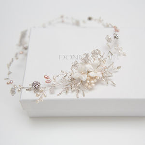 Silver Floral Leaf Bridal Hair Vine