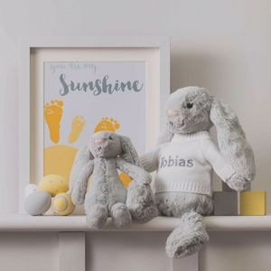 Personalised Grey Bashful Bunny Soft Toy