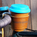 Personalised Reusable Coffee Cup Leather Bike Holder