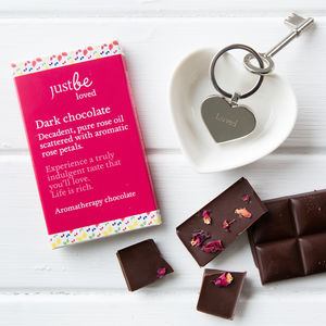 Just Be Loved Engraved Key Ring With Chocolate Bar