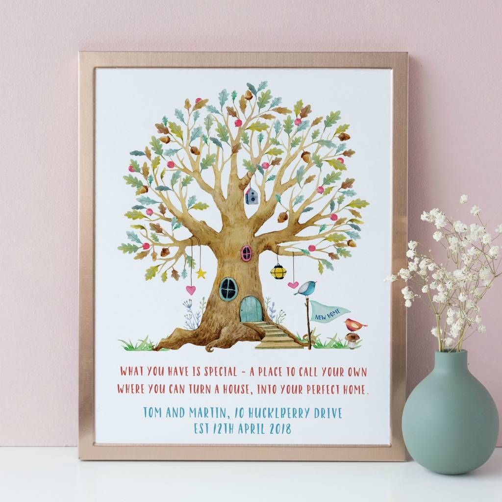 New Home Gift With Whimsical Watercolour Tree