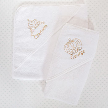 Personalised Royal Hooded Baby Towel