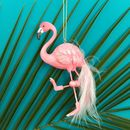 Flamingo Christmas Decoration With Feathers