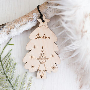 Personalised Elf And Christmas Tree Decoration