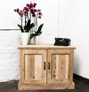 Boadi Reclaimed Timber Cupboard With Brass Handles