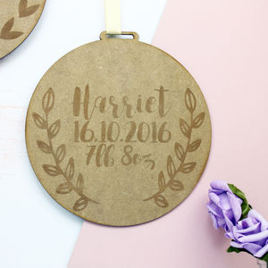 Personalised New Baby Wooden Sign