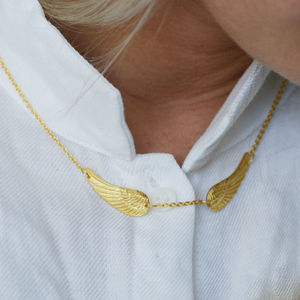 22ct Gold Vermeil Double Angel Wing Necklace