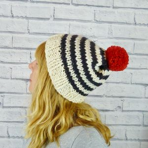 Hand Knitted Stripe Bobble Hat