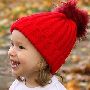 Red Beanie Hat With Removable Faux Fur Pom Pom - hats, scarves & gloves