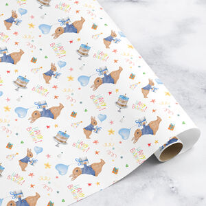 Baby's First Birthday Wrapping Paper Rabbit Design