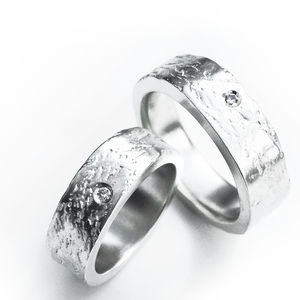 Silver Concrete Ring Set With A 2mm Diamond - wedding rings