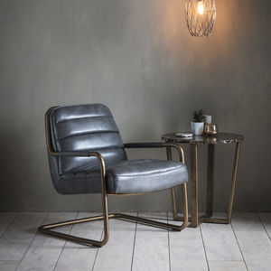 Black Leather Lounge Chair - furniture