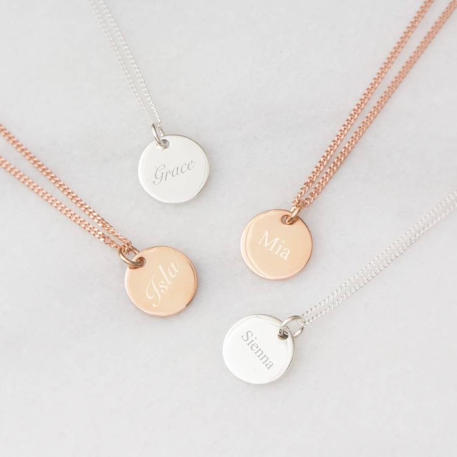 Disk Silvers: Grace Personalised Sterling Silver Disc Necklace By Bloom