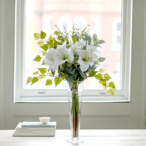 Classic White Amaryllis And Blossom Silk Bouquet