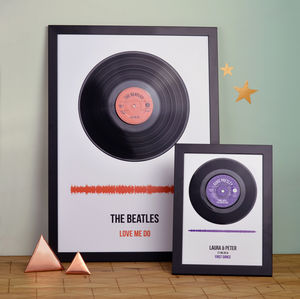 Personalised Vinyl Record Framed Song Print - gifts for fathers