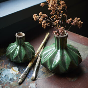 Green Glazed Lotus Bud Vase