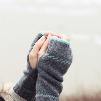 Knitted Lambswool Fingerless Mittens | Select Colour