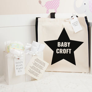 Personalised Star Hospital Bag And First Night Kit