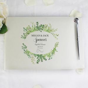 Botanical Guest Book With Pen, Personalised - guest books
