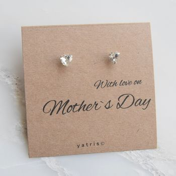 Personalised Mother`s Day Heart Earrings Gift Box