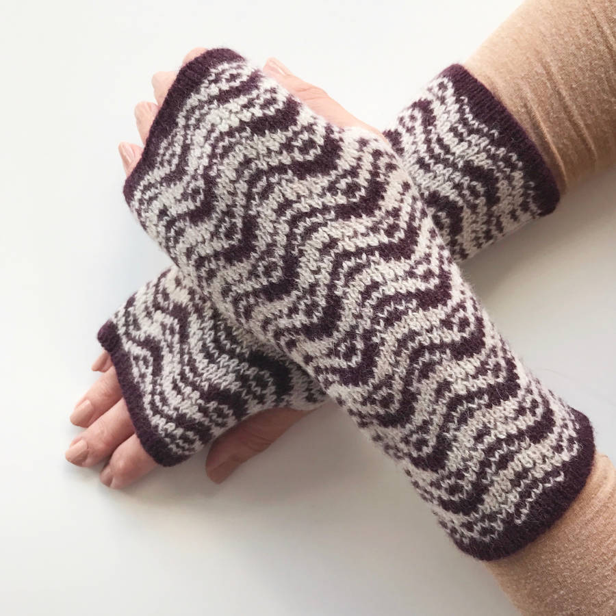 knitted ladies fingerless gloves ripples pattern by little knitted stars no...