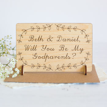 Personalised 'Will You Be My Godparents' Wooden Card