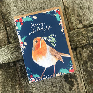 Robin Christmas Card Blank Inside