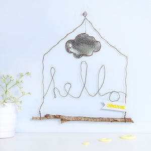 Wire Hanging Hello Word Decoration