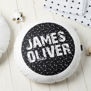 Personalised Kids Monochrome Arrows Round Cushion