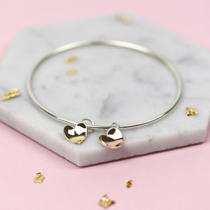 Handmade Sterling Silver And Solid Gold Bangle