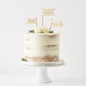 Personalised Wooden Flags Cake Topper - rustic wedding