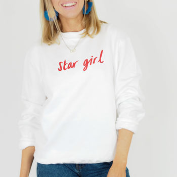 Cute Slogan Jumper - Star Girl Jumper - Hand Illustrated Jumper From Rock On Ruby