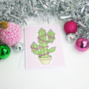 Christmas Cactus Illustrated Card